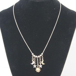 Jewelry - Sterling Silver Sun Moon Stars Dangle Necklace